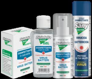 Prodotti disinfettanti mani cute e superfici BATTERICIDA e VIRUCIDA kit da portare con se